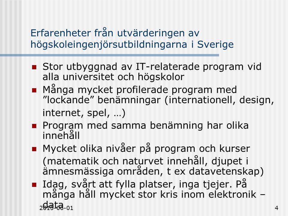 2015-06-014 Erfarenheter från utvärderingen av högskoleingenjörsutbildningarna i Sverige Stor utbyggnad av IT-relaterade program vid alla universitet och högskolor Många mycket profilerade program med lockande benämningar (internationell, design, internet, spel, …) Program med samma benämning har olika innehåll Mycket olika nivåer på program och kurser (matematik och naturvet innehåll, djupet i ämnesmässiga områden, t ex datavetenskap) Idag, svårt att fylla platser, inga tjejer.