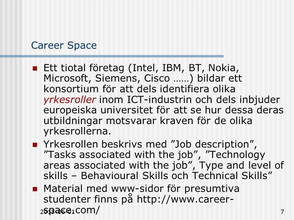 2015-06-017 Career Space Ett tiotal företag (Intel, IBM, BT, Nokia, Microsoft, Siemens, Cisco ……) bildar ett konsortium för att dels identifiera olika yrkesroller inom ICT-industrin och dels inbjuder europeiska universitet för att se hur dessa deras utbildningar motsvarar kraven för de olika yrkesrollerna.