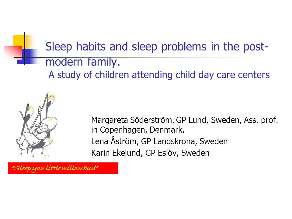 Research question To describe sleep habits and sleep problems of children attending child day care centres (DCCs) in Sweden.