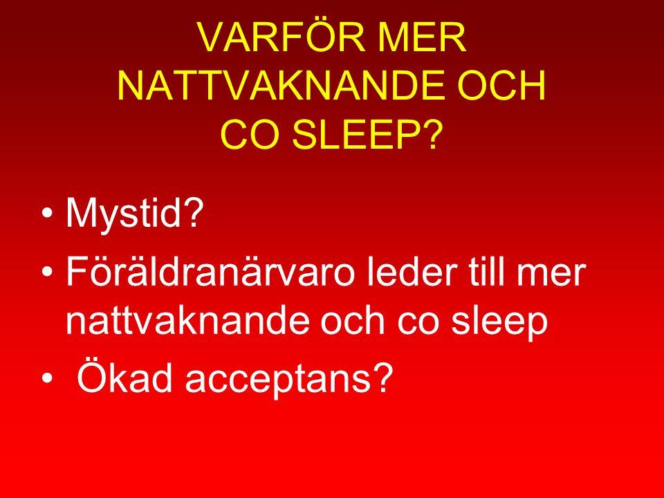 VARFÖR MER NATTVAKNANDE OCH CO SLEEP? Mystid? Föräldranärvaro leder till mer nattvaknande och co sleep Ökad acceptans?