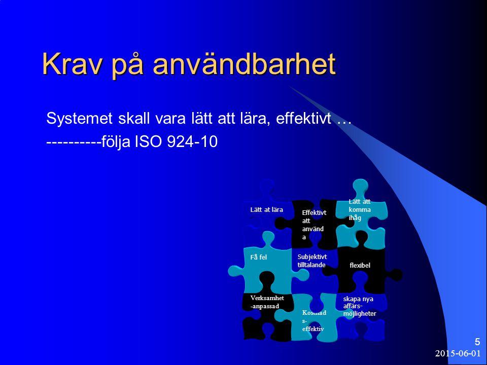 2015-06-01 5 Krav på användbarhet Systemet skall vara lätt att lära, effektivt … ----------följa ISO 924-10 flexibel Kostnad s- effektiv skapa nya affärs- möjligheter Subjektivt tilltalande Få fel Verksamhet -anpassad Effektivt att använd a Lätt att komma ihåg Lätt at lära