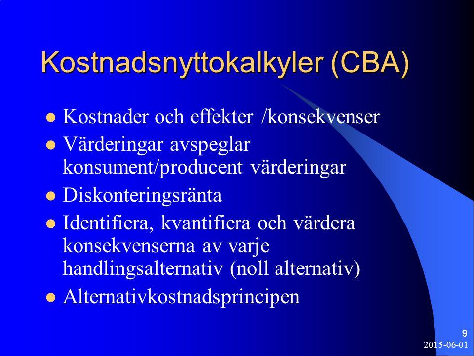 2015-06-01 9 Kostnadsnyttokalkyler (CBA) Kostnader och effekter /konsekvenser Värderingar avspeglar konsument/producent värderingar Diskonteringsränta Identifiera, kvantifiera och värdera konsekvenserna av varje handlingsalternativ (noll alternativ) Alternativkostnadsprincipen