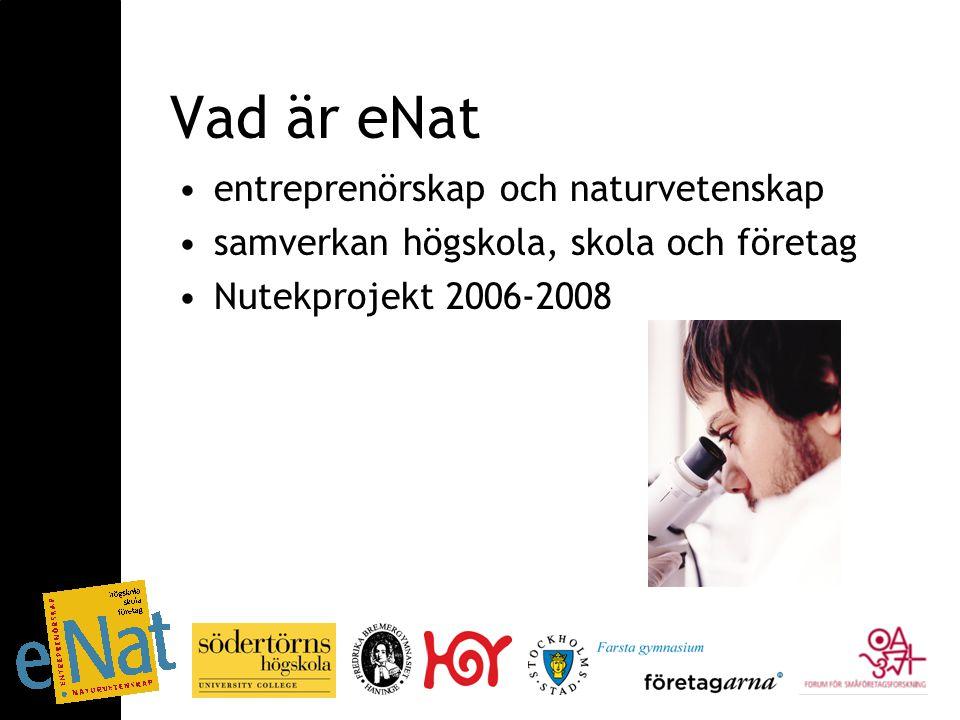 Medverkande ENTER forum (Center for Entrepreneurship) och Naturvetenskapliga fakulteten på Södertörns högskola Farsta gymnasium (Stockholms stad) Huddingegymnasiet (Huddinge kommun) Fredrika Bremergymnasierna (Haninge kommun) Företag genom Företagarna Forum för småföretagsforskning (FSF)