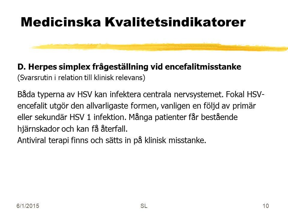 6/1/2015SL10 Medicinska Kvalitetsindikatorer D. Herpes simplex frågeställning vid encefalitmisstanke (Svarsrutin i relation till klinisk relevans) Båd