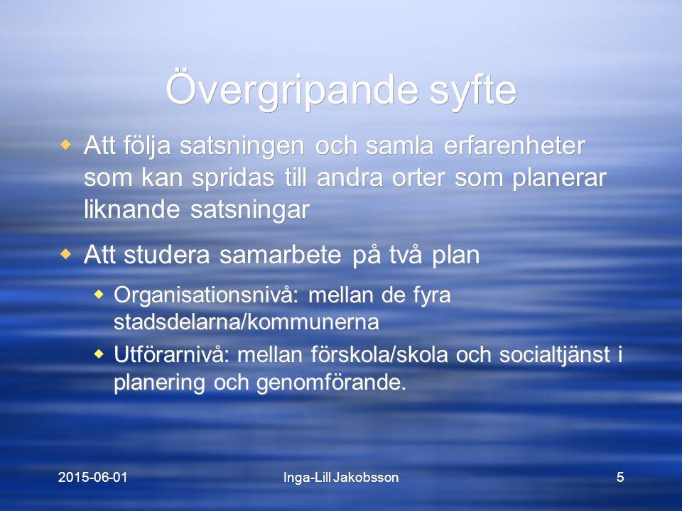 2015-06-01Inga-Lill Jakobsson16 Sammanfattande slutsats: Det finns en kraft i Föräldrakraft I mplementeringen av Föräldrakraft är, trots oklara förutsättningar i början och en del komplikationer under vägen, genomförd med lyckat resultat i Bergsjön, Linnéstaden, Mark och Orust