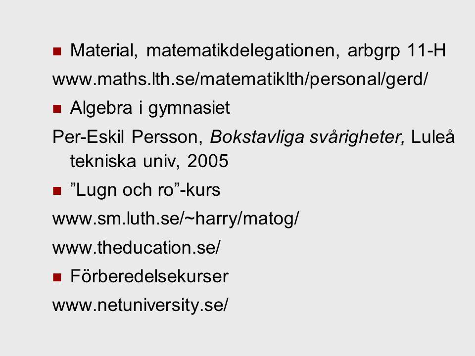 Material, matematikdelegationen, arbgrp 11-H www.maths.lth.se/matematiklth/personal/gerd/ Algebra i gymnasiet Per-Eskil Persson, Bokstavliga svårigheter, Luleå tekniska univ, 2005 Lugn och ro -kurs www.sm.luth.se/~harry/matog/ www.theducation.se/ Förberedelsekurser www.netuniversity.se/