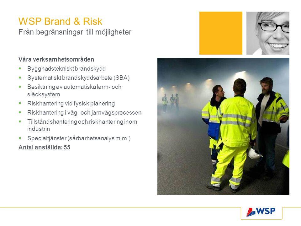 WSP Brand & Risk Från begränsningar till möjligheter Våra verksamhetsområden  Byggnadstekniskt brandskydd  Systematiskt brandskyddsarbete (SBA)  Besiktning av automatiska larm- och släcksystem  Riskhantering vid fysisk planering  Riskhantering i väg- och järnvägsprocessen  Tillståndshantering och riskhantering inom industrin  Specialtjänster (sårbarhetsanalys m.m.) Antal anställda: 55