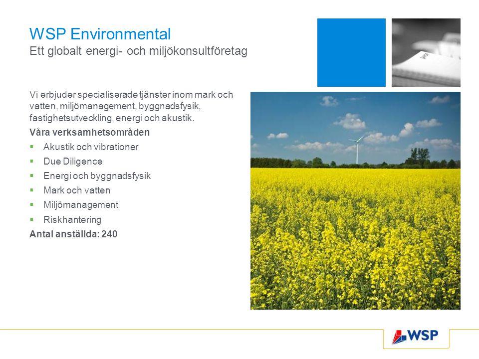 WSP Environmental Ett globalt energi- och miljökonsultföretag Vi erbjuder specialiserade tjänster inom mark och vatten, miljömanagement, byggnadsfysik, fastighetsutveckling, energi och akustik.