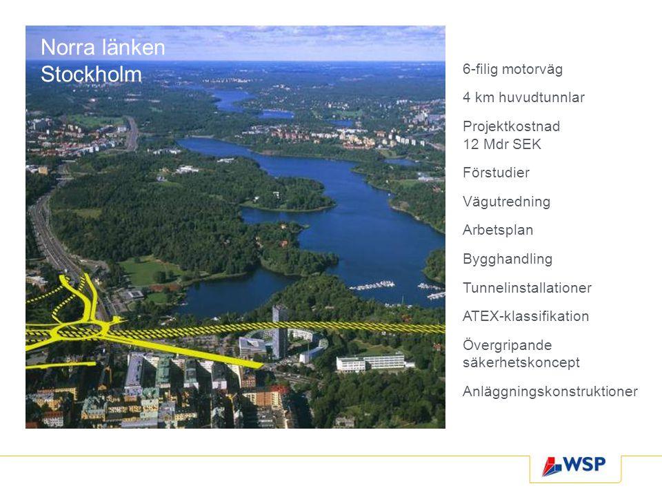 Norra länken Stockholm 6-filig motorväg 4 km huvudtunnlar Projektkostnad 12 Mdr SEK Förstudier Vägutredning Arbetsplan Bygghandling Tunnelinstallationer ATEX-klassifikation Övergripande säkerhetskoncept Anläggningskonstruktioner