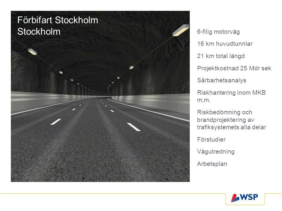 Förbifart Stockholm Stockholm 6-filig motorväg 16 km huvudtunnlar 21 km total längd Projektkostnad 25 Mdr sek Sårbarhetsanalys Riskhantering inom MKB m.m.