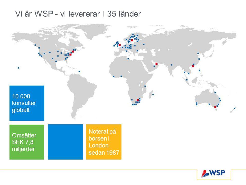 Vi är WSP - vi levererar i 35 länder 10 000 konsulter globalt Omsätter SEK 7,8 miljarder Noterat på börsen i London sedan 1987