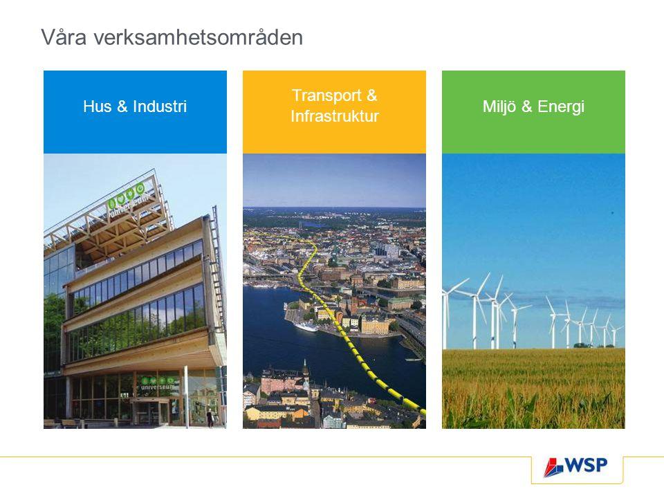 Våra verksamhetsområden Miljö & Energi Transport & Infrastruktur Hus & Industri