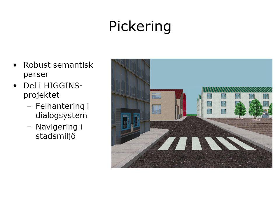 Pickering Robust semantisk parser Del i HIGGINS- projektet –Felhantering i dialogsystem –Navigering i stadsmiljö