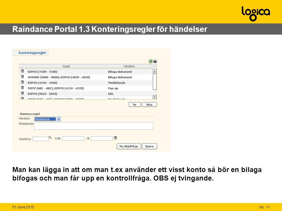 No. 1101 June 2015 Raindance Portal 1.3 Konteringsregler för händelser Man kan lägga in att om man t.ex använder ett visst konto så bör en bilaga bifo