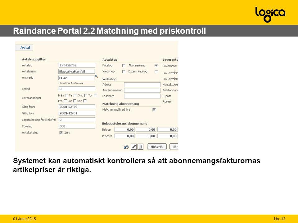 No. 1301 June 2015 Raindance Portal 2.2 Matchning med priskontroll Systemet kan automatiskt kontrollera så att abonnemangsfakturornas artikelpriser är