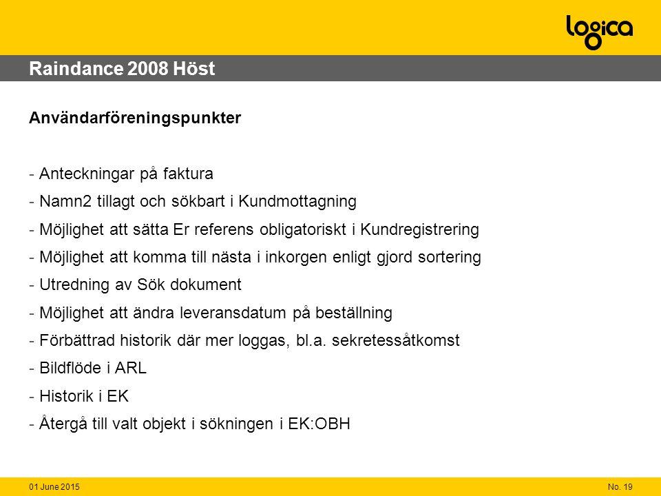 No. 1901 June 2015 Raindance 2008 Höst Användarföreningspunkter - Anteckningar på faktura - Namn2 tillagt och sökbart i Kundmottagning - Möjlighet att