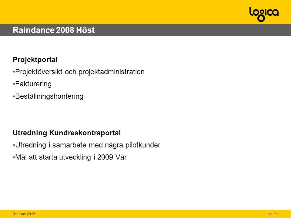 No. 2101 June 2015 Raindance 2008 Höst Projektportal Projektöversikt och projektadministration Fakturering Beställningshantering Utredning Kundreskont