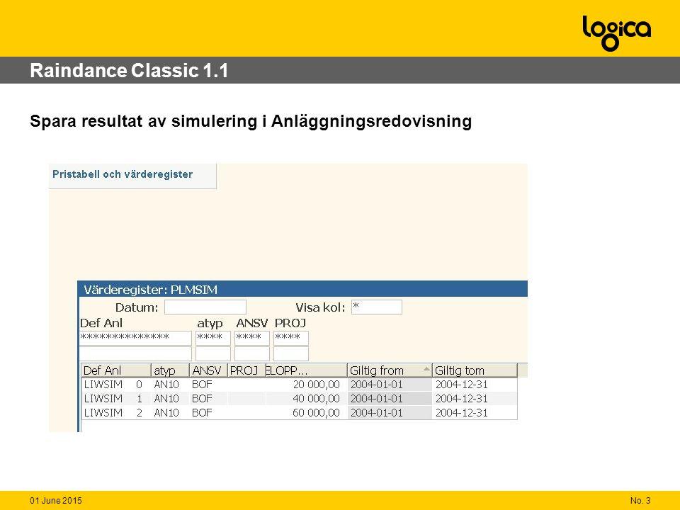 No. 301 June 2015 Raindance Classic 1.1 Spara resultat av simulering i Anläggningsredovisning
