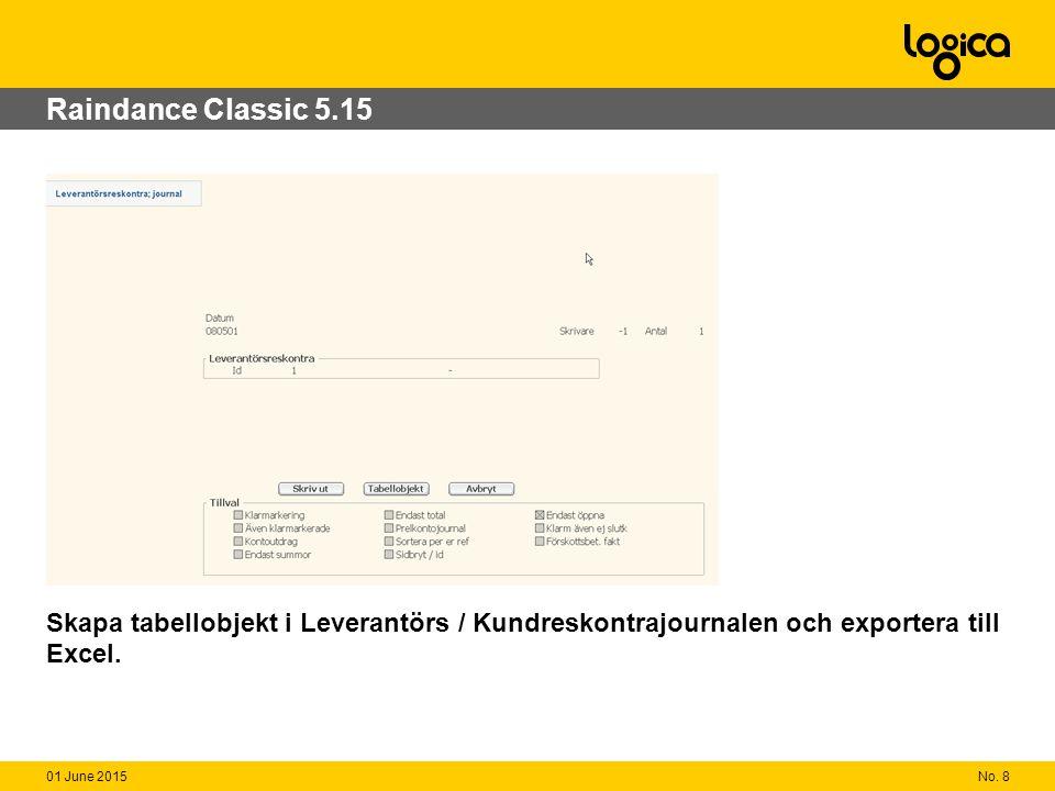 No. 801 June 2015 Raindance Classic 5.15 Skapa tabellobjekt i Leverantörs / Kundreskontrajournalen och exportera till Excel.