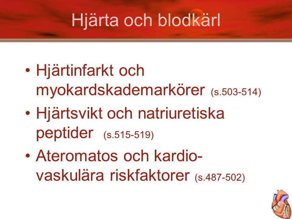 Hjärta och blodkärl Hjärtinfarkt och myokardskademarkörer (s.503-514) Hjärtsvikt och natriuretiska peptider (s.515-519) Ateromatos och kardio- vaskulä