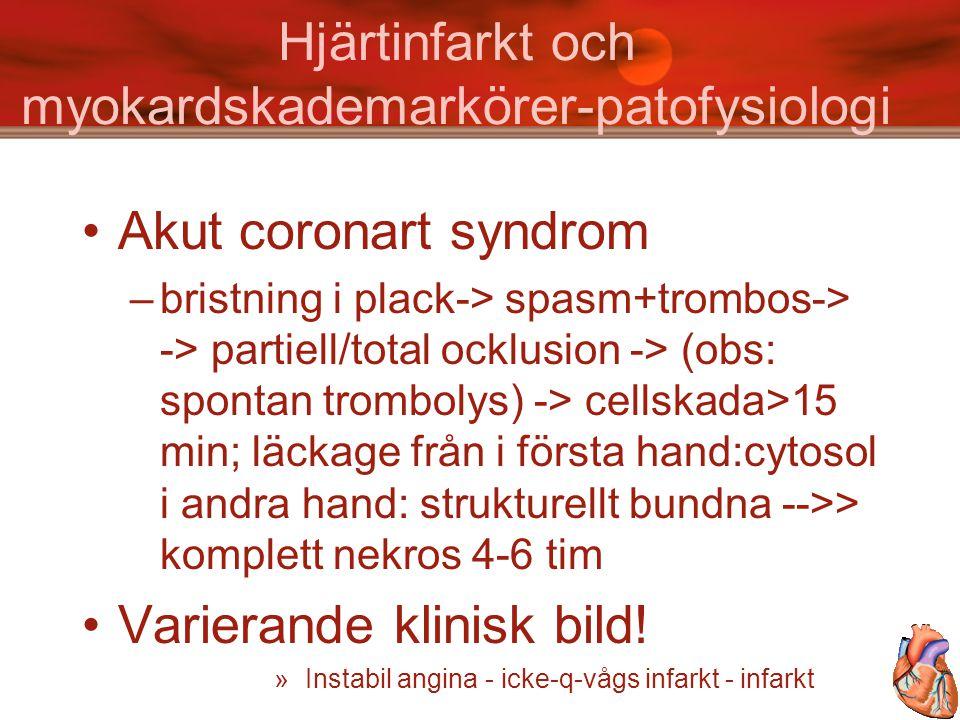 Hjärtinfarkt och myokardskademarkörer- Sensitivitet och specificitet timmar efter ankomst till sjukhus Patientmaterial: små infarkter // ankomst 2 tim (mediantid) efter insjuknande