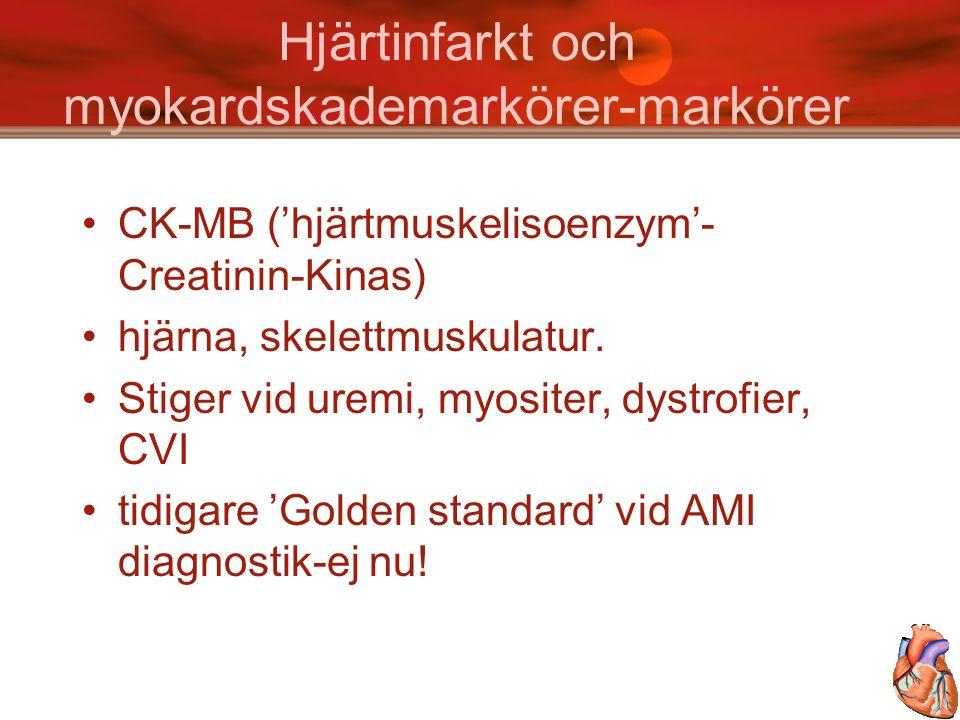 Hjärtinfarkt och myokardskademarkörer-markörer CK-MB ('hjärtmuskelisoenzym'- Creatinin-Kinas) hjärna, skelettmuskulatur. Stiger vid uremi, myositer, d