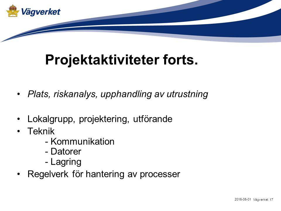 17Vägverket 2015-06-01 Projektaktiviteter forts.