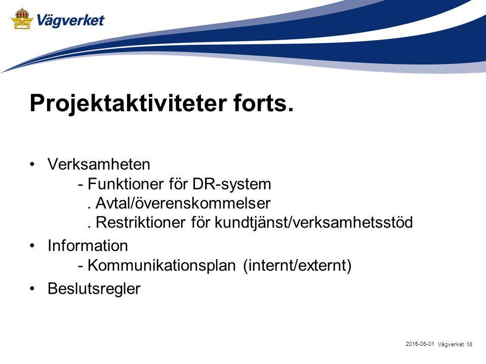 18Vägverket 2015-06-01 Projektaktiviteter forts. Verksamheten - Funktioner för DR-system.