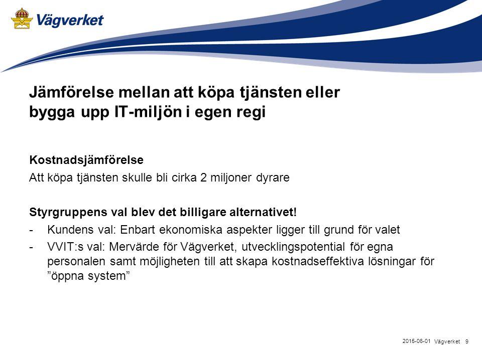 9Vägverket 2015-06-01 Jämförelse mellan att köpa tjänsten eller bygga upp IT-miljön i egen regi Kostnadsjämförelse Att köpa tjänsten skulle bli cirka 2 miljoner dyrare Styrgruppens val blev det billigare alternativet.