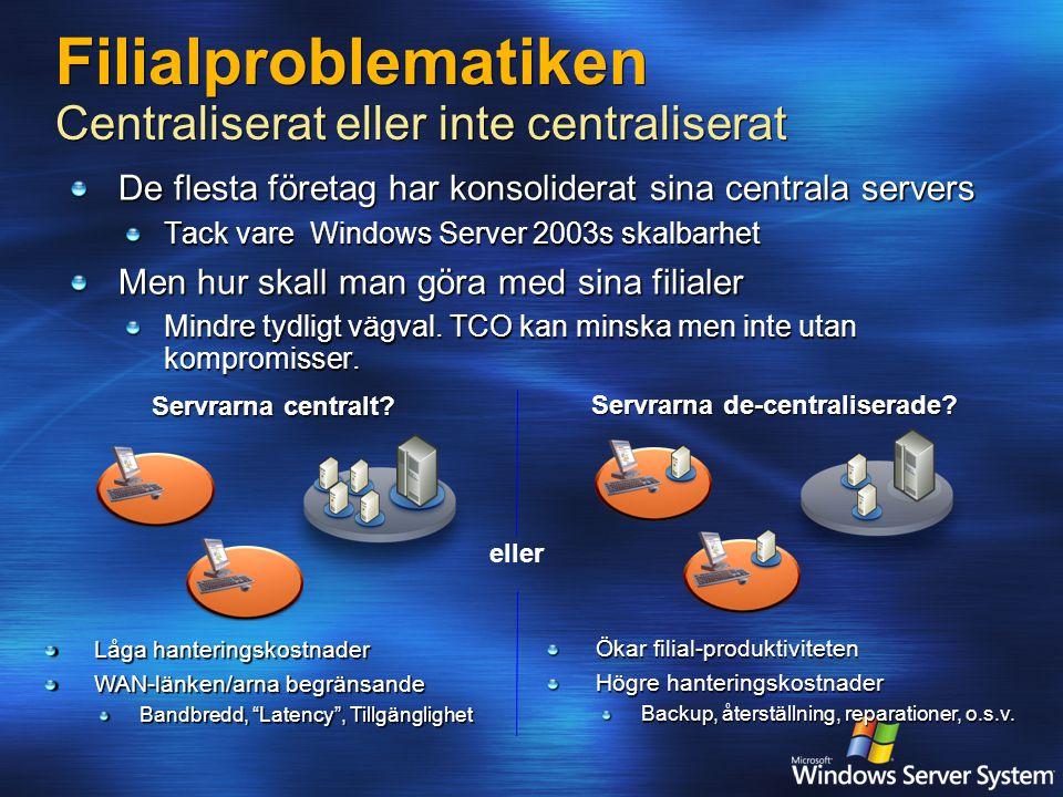 Filialproblematiken Centraliserat eller inte centraliserat De flesta företag har konsoliderat sina centrala servers Tack vare Windows Server 2003s skalbarhet Men hur skall man göra med sina filialer Mindre tydligt vägval.