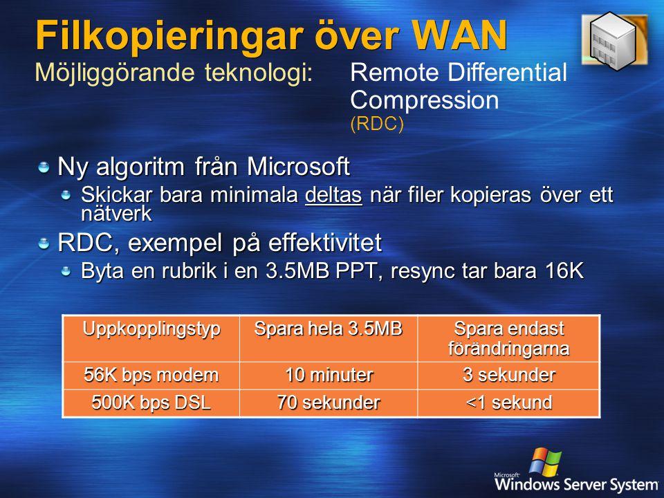 Filkopieringar över WAN Ny algoritm från Microsoft Skickar bara minimala deltas när filer kopieras över ett nätverk RDC, exempel på effektivitet Byta en rubrik i en 3.5MB PPT, resync tar bara 16K Möjliggörande teknologi:Remote Differential Compression (RDC)Uppkopplingstyp Spara hela 3.5MB Spara endast förändringarna 56K bps modem 10 minuter 3 sekunder 500K bps DSL 70 sekunder <1 sekund