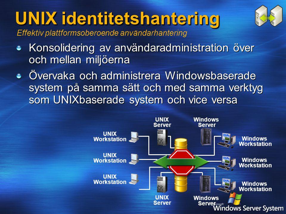 UNIX identitetshantering Konsolidering av användaradministration över och mellan miljöerna Övervaka och administrera Windowsbaserade system på samma sätt och med samma verktyg som UNIXbaserade system och vice versa Effektiv plattformsoberoende användarhantering UNIX Server Windows Server Windows Workstation UNIX Workstation Windows Server UNIX Server UNIX Workstation Windows Workstation