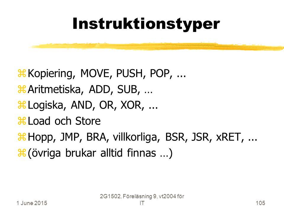 1 June 2015 2G1502, Föreläsning 9, vt2004 för IT105 Instruktionstyper zKopiering, MOVE, PUSH, POP,... zAritmetiska, ADD, SUB, … zLogiska, AND, OR, XOR