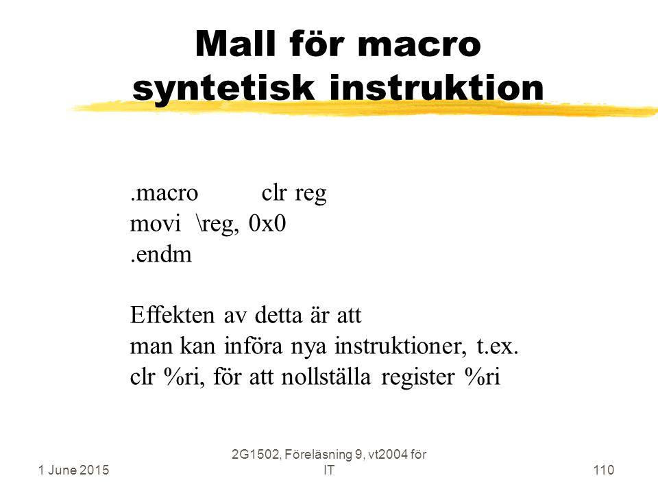 1 June 2015 2G1502, Föreläsning 9, vt2004 för IT110 Mall för macro syntetisk instruktion.macroclr reg movi\reg, 0x0.endm Effekten av detta är att man kan införa nya instruktioner, t.ex.