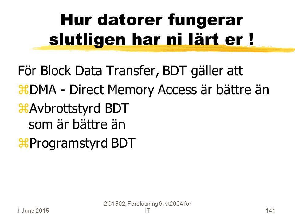 1 June 2015 2G1502, Föreläsning 9, vt2004 för IT141 Hur datorer fungerar slutligen har ni lärt er ! För Block Data Transfer, BDT gäller att zDMA - Dir