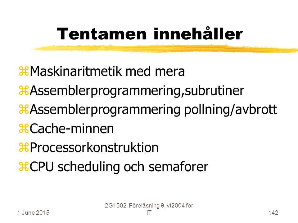 1 June 2015 2G1502, Föreläsning 9, vt2004 för IT142 Tentamen innehåller zMaskinaritmetik med mera zAssemblerprogrammering,subrutiner zAssemblerprogrammering pollning/avbrott zCache-minnen zProcessorkonstruktion zCPU scheduling och semaforer