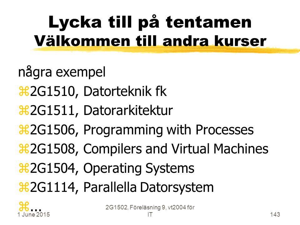 1 June 2015 2G1502, Föreläsning 9, vt2004 för IT143 Lycka till på tentamen Välkommen till andra kurser några exempel z2G1510, Datorteknik fk z2G1511, Datorarkitektur z2G1506, Programming with Processes z2G1508, Compilers and Virtual Machines z2G1504, Operating Systems z2G1114, Parallella Datorsystem z...