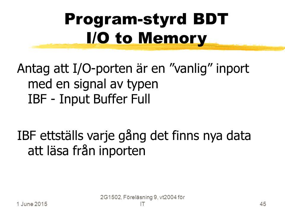 1 June 2015 2G1502, Föreläsning 9, vt2004 för IT45 Program-styrd BDT I/O to Memory Antag att I/O-porten är en vanlig inport med en signal av typen IBF - Input Buffer Full IBF ettställs varje gång det finns nya data att läsa från inporten