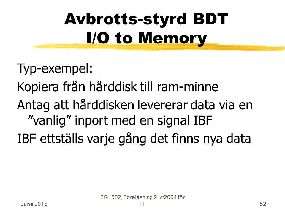 1 June 2015 2G1502, Föreläsning 9, vt2004 för IT52 Avbrotts-styrd BDT I/O to Memory Typ-exempel: Kopiera från hårddisk till ram-minne Antag att hårddisken levererar data via en vanlig inport med en signal IBF IBF ettställs varje gång det finns nya data