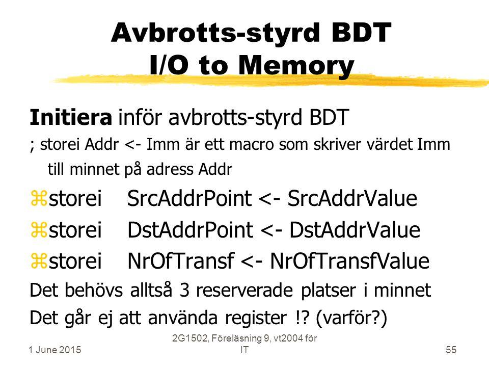 1 June 2015 2G1502, Föreläsning 9, vt2004 för IT55 Avbrotts-styrd BDT I/O to Memory Initiera inför avbrotts-styrd BDT ; storei Addr <- Imm är ett macro som skriver värdet Imm till minnet på adress Addr zstoreiSrcAddrPoint <- SrcAddrValue zstoreiDstAddrPoint <- DstAddrValue zstoreiNrOfTransf <- NrOfTransfValue Det behövs alltså 3 reserverade platser i minnet Det går ej att använda register !.