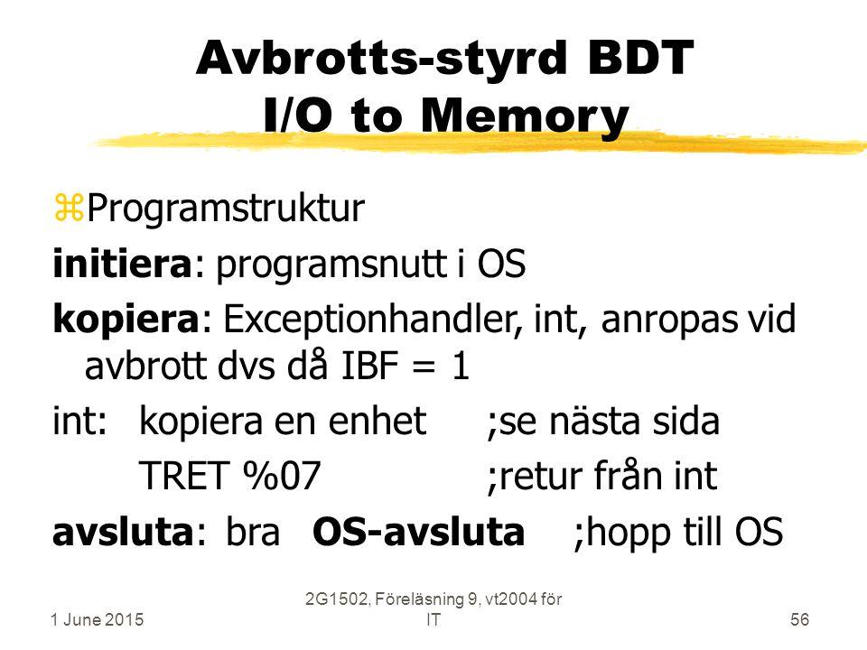 1 June 2015 2G1502, Föreläsning 9, vt2004 för IT56 Avbrotts-styrd BDT I/O to Memory zProgramstruktur initiera: programsnutt i OS kopiera: Exceptionhandler, int, anropas vid avbrott dvs då IBF = 1 int:kopiera en enhet;se nästa sida TRET %07;retur från int avsluta:braOS-avsluta;hopp till OS