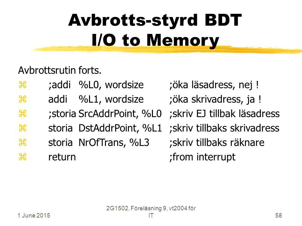 1 June 2015 2G1502, Föreläsning 9, vt2004 för IT58 Avbrotts-styrd BDT I/O to Memory Avbrottsrutin forts. z;addi%L0, wordsize;öka läsadress, nej ! z ad