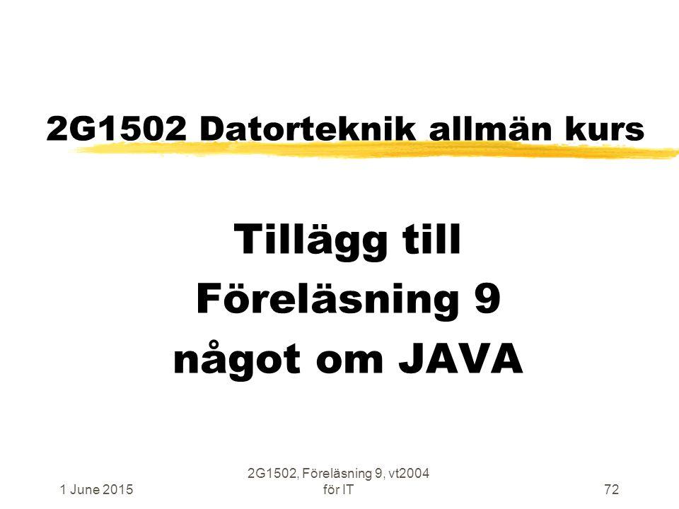 1 June 2015 2G1502, Föreläsning 9, vt2004 för IT72 2G1502 Datorteknik allmän kurs Tillägg till Föreläsning 9 något om JAVA
