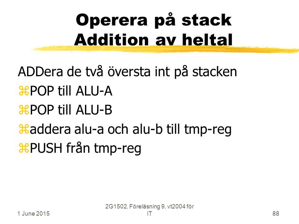 1 June 2015 2G1502, Föreläsning 9, vt2004 för IT88 Operera på stack Addition av heltal ADDera de två översta int på stacken zPOP till ALU-A zPOP till