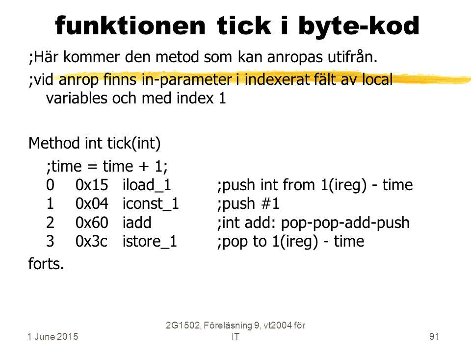 1 June 2015 2G1502, Föreläsning 9, vt2004 för IT91 funktionen tick i byte-kod ;Här kommer den metod som kan anropas utifrån. ;vid anrop finns in-param