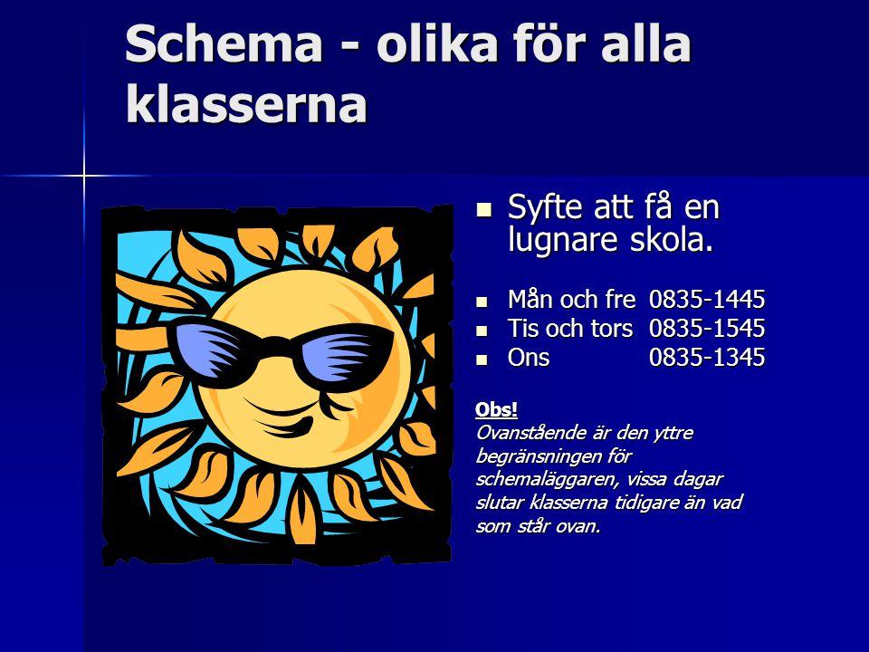 Schema - olika för alla klasserna Syfte att få en lugnare skola.