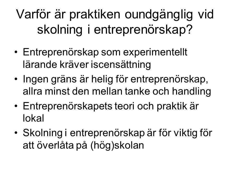 Varför är praktiken oundgänglig vid skolning i entreprenörskap? Entreprenörskap som experimentellt lärande kräver iscensättning Ingen gräns är helig f