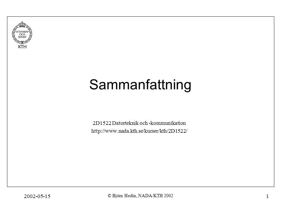 2002-05-15 © Björn Hedin, NADA/KTH 2002 1 Sammanfattning 2D1522 Datorteknik och -kommunikation http://www.nada.kth.se/kurser/kth/2D1522/