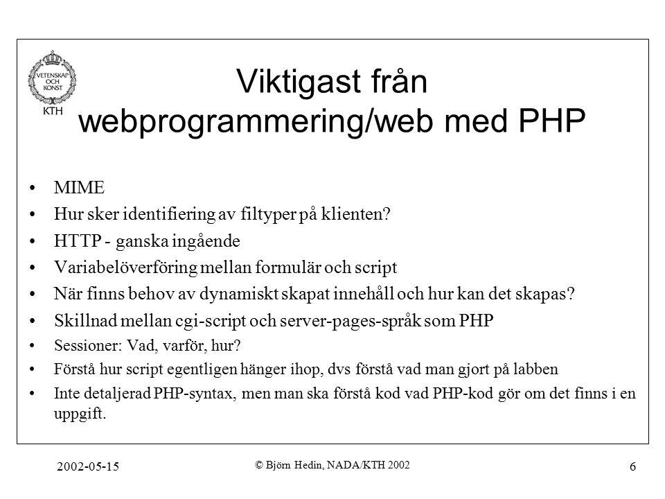 2002-05-15 © Björn Hedin, NADA/KTH 2002 6 Viktigast från webprogrammering/web med PHP MIME Hur sker identifiering av filtyper på klienten.