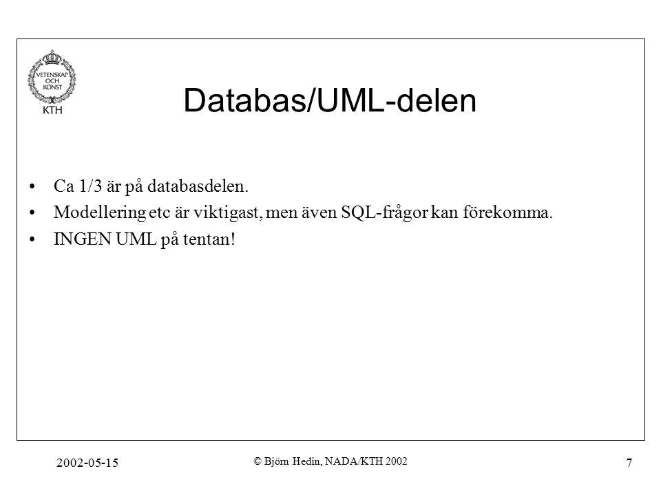 2002-05-15 © Björn Hedin, NADA/KTH 2002 7 Databas/UML-delen Ca 1/3 är på databasdelen.